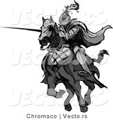 Vector of a Knight Charging on Horse While Aiming Lance - Grayscale by Chromaco