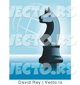 Vector of a Knight Chess Piece on Blue with a Wire Globe in Background by David Rey