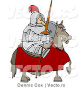Vector of a Knight Holding Lance While Sitting on a Horse by Djart