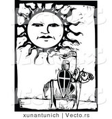 Vector of a Knight on a Horse with Sun Character in the Sky - Black and White Woodcut by Xunantunich