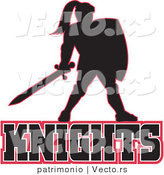 Vector of a Knight Standing Above Knights Text Logo by Patrimonio