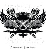 Vector of a Lacrosse Ball and Sticks over Shield with Wings and Banner - Black and White by Chromaco