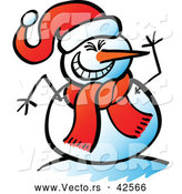 Vector of a Laughing Cartoon Snowman Waving by Zooco