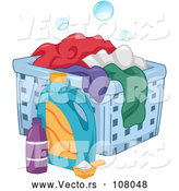 Vector of a Laundry Detergent Beside a Hamper with Clothes by BNP Design Studio