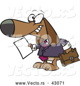 Vector of a Legal Cartoon Business Beagle Holding a Blank Document and Briefcase by Toonaday