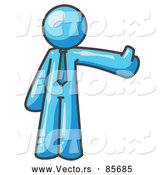 Vector of a Light Blue Business Character Giving Thumbs up by Leo Blanchette