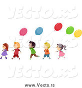 Vector of a Line of Happy Diverse Children with Balloons by BNP Design Studio