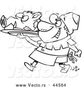 Vector of a Lineart Cheerful Castle Cook Chef Carrying a Pig Head on a Platter by Ron Leishman