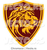 Vector of a Lion Shield Badge by Chromaco
