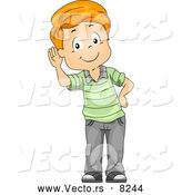 Vector of a Listening Cartoon Boy Cupping His Ear While Smiling by BNP Design Studio