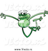 Vector of a Long Legged Green Frog Jumping by Zooco