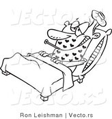 Vector of a Love Sick Cartoon Man Resting in Bed with Fever - Line Drawing by Toonaday
