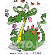 Vector of a Love Struck Cartoon Dragon Holding a Purple Flower with Hearts Floating Above His Head by Toonaday
