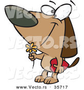 Vector of a Loving Cartoon Dog with a Flower and Candy Box by Toonaday