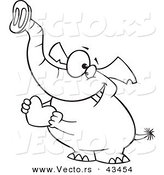 Vector of a Loving Cartoon Elephant Holding a Valentine Love Heart - Coloring Page Outline by Ron Leishman