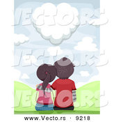 Vector of a Loving Couple Sitting Together While Gazing at a Heart Shaped Love Cloud by BNP Design Studio