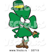 Vector of a Lucky St. Patrick's Day Cartoon Shamrock Mascot Smoking a Pipe by Ron Leishman