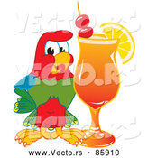 Vector of a Macaw Parrot Mascot with a Fruity Cocktail by Toons4Biz