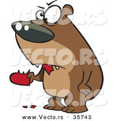 Vector of a Mad Cartoon Bear Eating a Valentine Love Heart by Toonaday