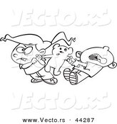 Vector of a Mad Cartoon Boy and Girl Fighting over a Teddy Bear - Coloring Page Outline by Toonaday