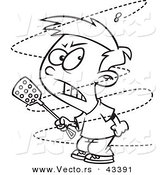Vector of a Mad Cartoon Boy Trying to Swat an Annoying House Fly - Coloring Page Outline by Toonaday