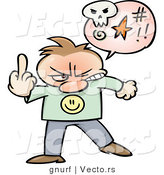 Vector of a Mad Cartoon Guy Giving the Middle Finger Hand Sign by Gnurf