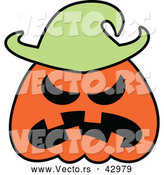 Vector of a Mad Cartoon Halloween Jackolantern Pumpkin by Zooco