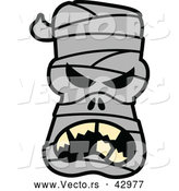 Vector of a Mad Cartoon Halloween Mummy by Zooco