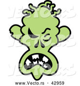 Vector of a Mad Cartoon Halloween Zombie by Zooco