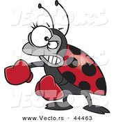 Vector of a Mad Cartoon Ladybug Wearing Boxing Gloves by Toonaday
