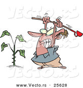 Vector of a Mad Cartoon Man Destroying a Weed with a Garden Hoe Tool by Toonaday