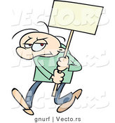 Vector of a Mad Cartoon Man Protesting with a Blank Sign by Gnurf
