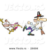 Vector of a Mad Cartoon Turkey Chasing a Pilgrim Man with Hunting Rifle by Toonaday