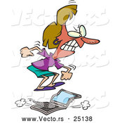 Vector of a Mad Cartoon Woman Jumping on a Broken Laptop Computer by Ron Leishman