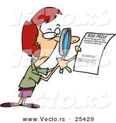 Vector of a Mad Cartoon Woman Reading Fine Print on a Legal Contract with a Magnifying Glass by Toonaday