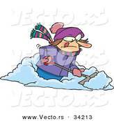 Vector of a Mad Cartoon Woman Shoveling Snow by Toonaday