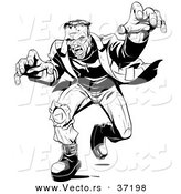 Vector of a Mad Frankenstein Walking Forward in Attack Mode - Black and White Halloween Line Art by Lawrence Christmas Illustration