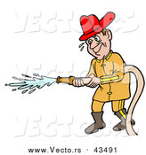 Vector of a Male Caucasian Fireman in a Uniform and Red Hardhat, Operating a Water Hose by LaffToon