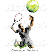 Vector of a Male Tennis Player Tossing and Serving the Ball by Chromaco