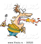 Vector of a Man Breathing Fire While Holding Bottle of Burning Hot Sauce - Cartoon Style by Toonaday