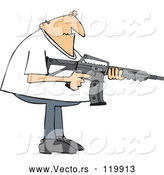 Vector of a Man Posing with Semi Automatic Rifle with Big Clip by Djart