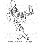 Vector of a Marching Cartoon Girl Playing a Trombone - Coloring Page Outline by Toonaday