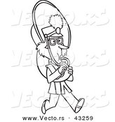 Vector of a Marching Cartoon Girl Playing a Tuba - Coloring Page Outline by Toonaday