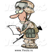 Vector of a Marine Soldier Man in a Camouflage Uniform and Helmet, Reading a Letter by Ron Leishman
