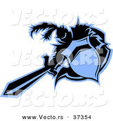 Vector of a Medieval Cartoon Knight Mascot Thrusting Forward with a Sword and Shield - Black and Blue by Chromaco
