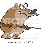 Vector of a Menacing Cartoon Bear Armed with a Hunting Rifle by Ron Leishman