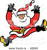 Vector of a Merry Cartoon Santa Jumping and Falling by Zooco