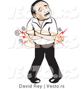 Vector of a Mexican Man with Painful Stomach Ache by David Rey
