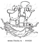 Vector of a Middle Aged Cartoon Couple in an Empty Nest - Coloring Page Outline by Ron Leishman