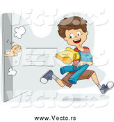 Vector of a Mischievous Boy Snagging Clothes from a Dressing Room by BNP Design Studio
